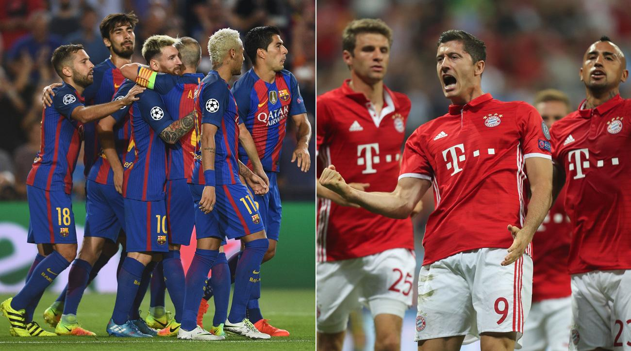 Barcelona and Bayern Munich win by huge margins to open the Champions League