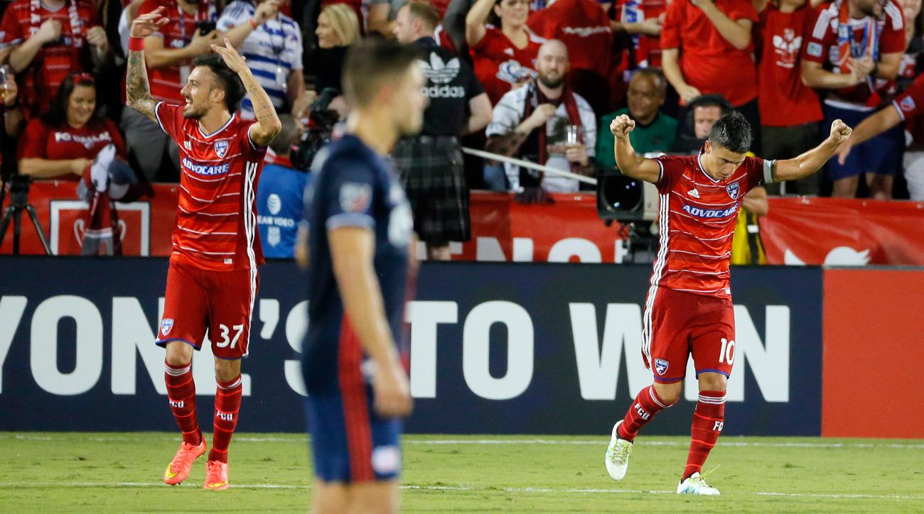 Maxi Urruti and Mauro Diaz celebrate for FC Dallas during the U.S. Open Cup final