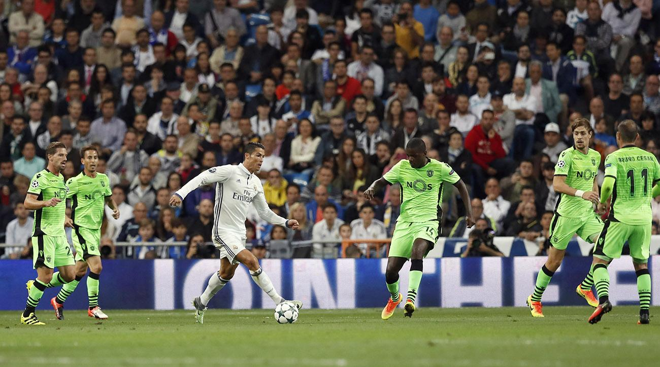 cristiano ronaldo real madrid champions league sporting goal free kick video