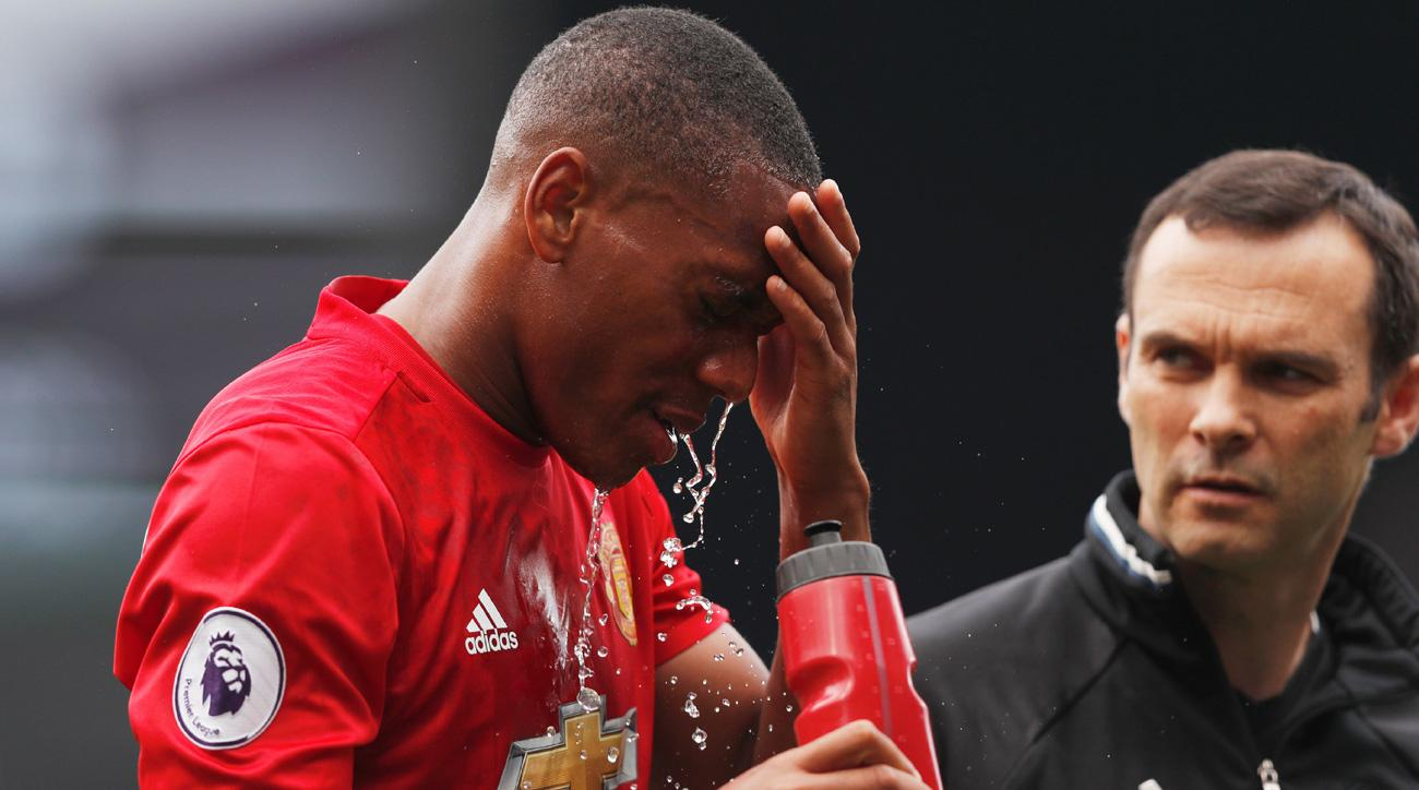 Manchester United's Anthony Martial suffers a head injury against Watford