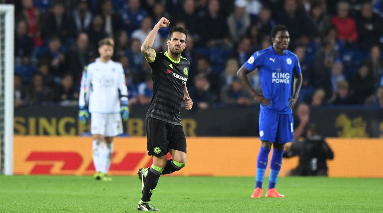 Chelsea's Cesc Fabregas celebrates his goal vs. Leicester City in the League Cup