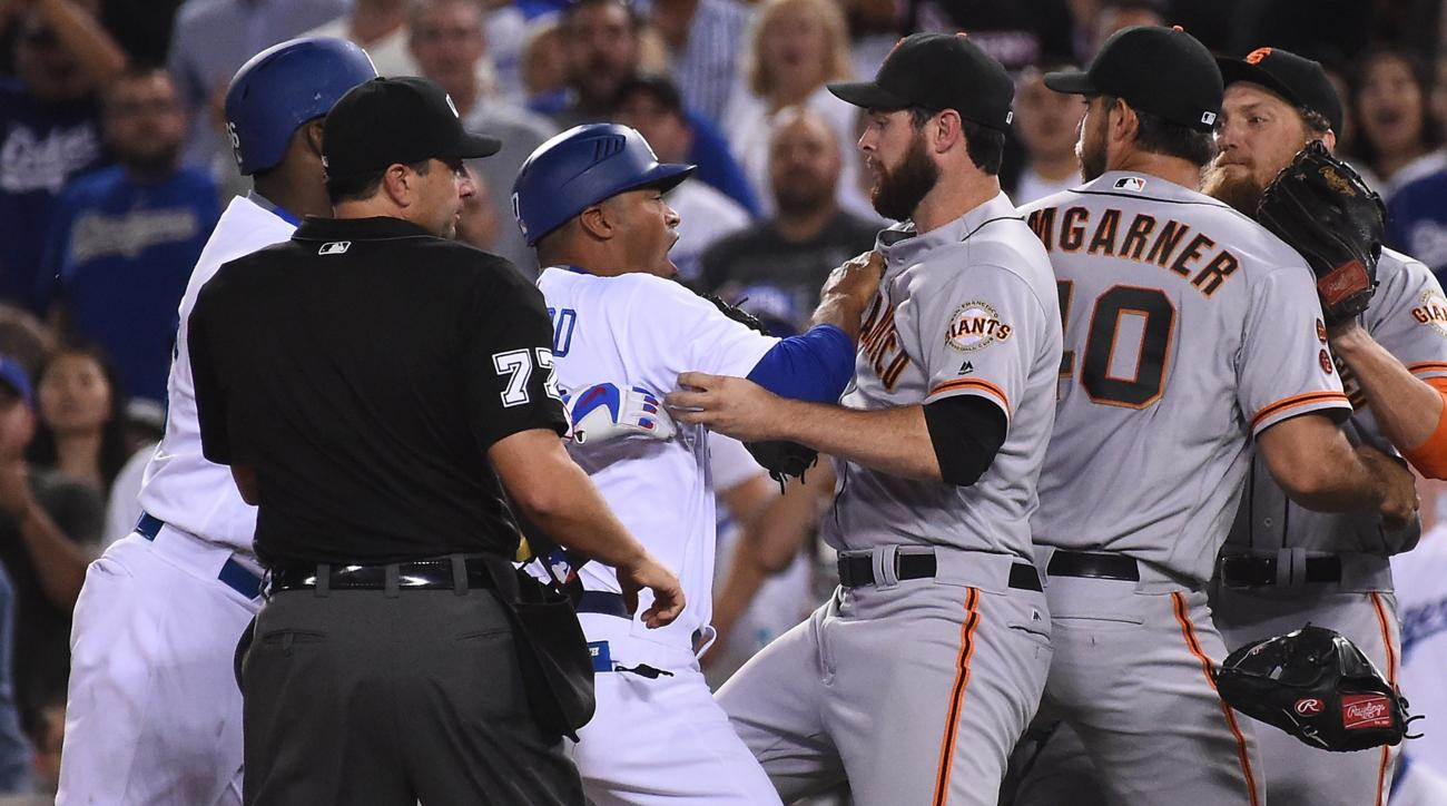 dodgers giants brawl video vin scully call