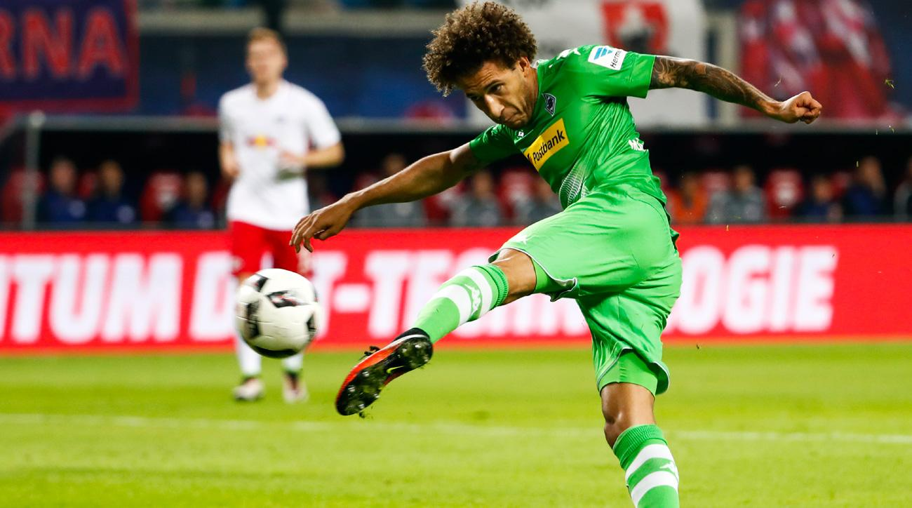 Fabian Johnson scores Borussia Monchengladbach's equalizer against RB Leipzig