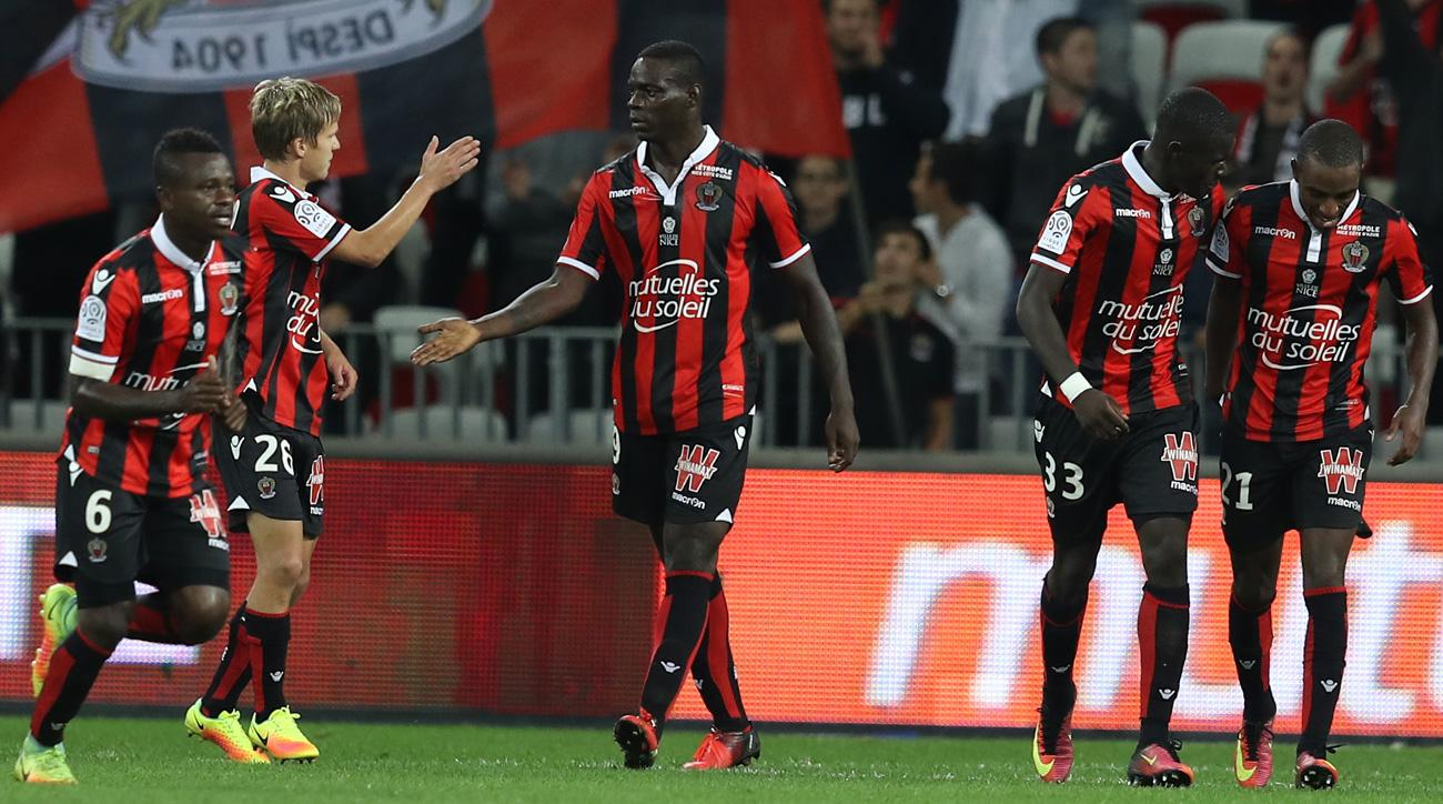 Mario Balotelli scores twice for Nice against Monaco in Ligue 1