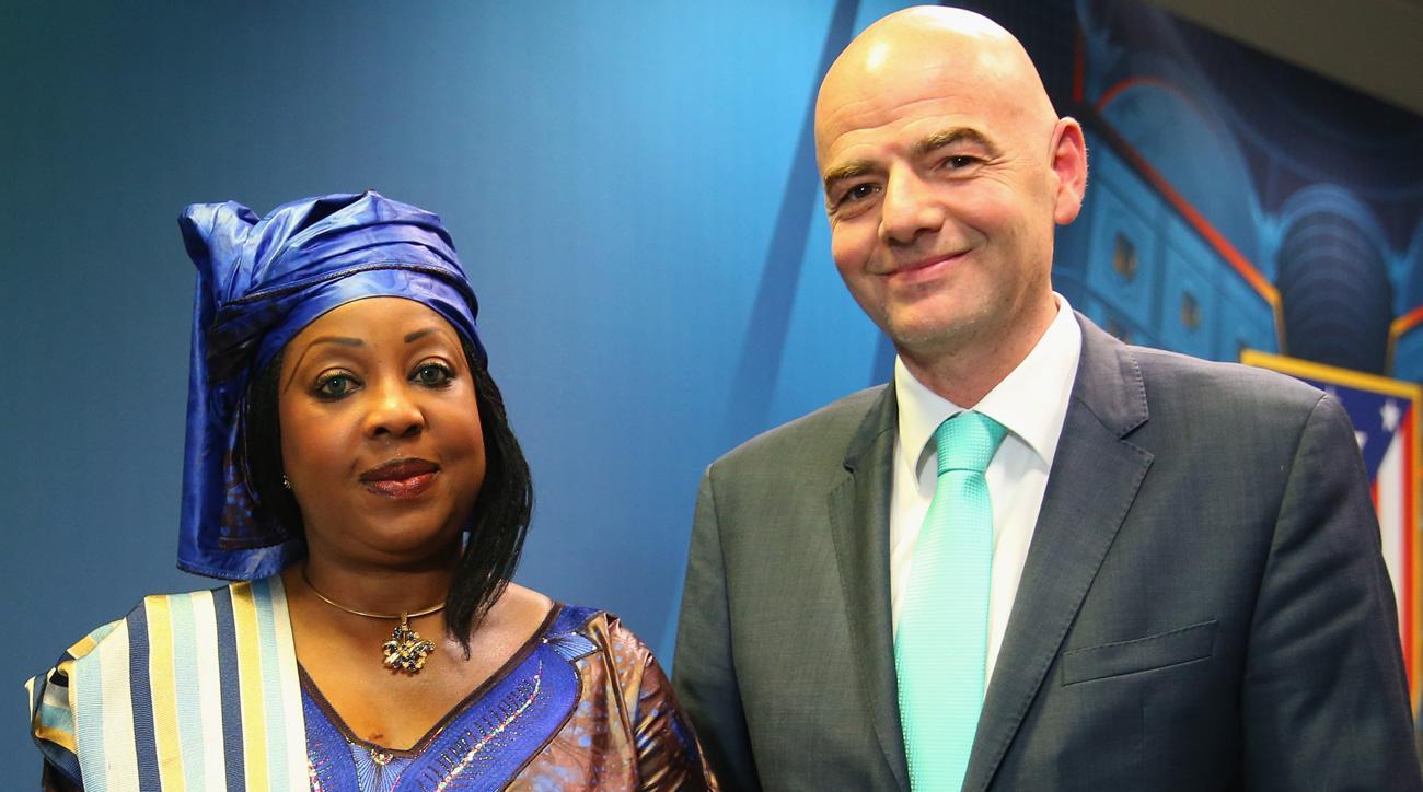 FIFA secretary general Fatma Samoura and president Gianni Infantino