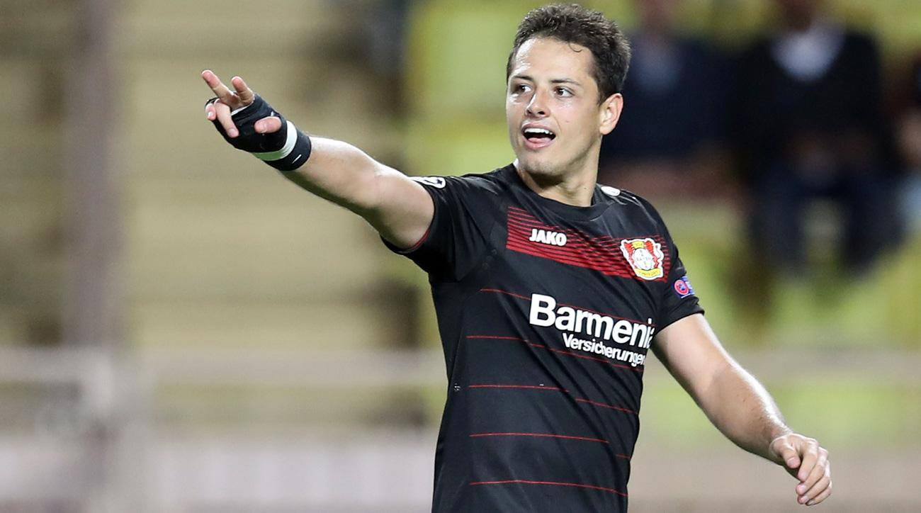 Chicharito scores a big goal for Bayer Leverkusen at Monaco in the Champions League