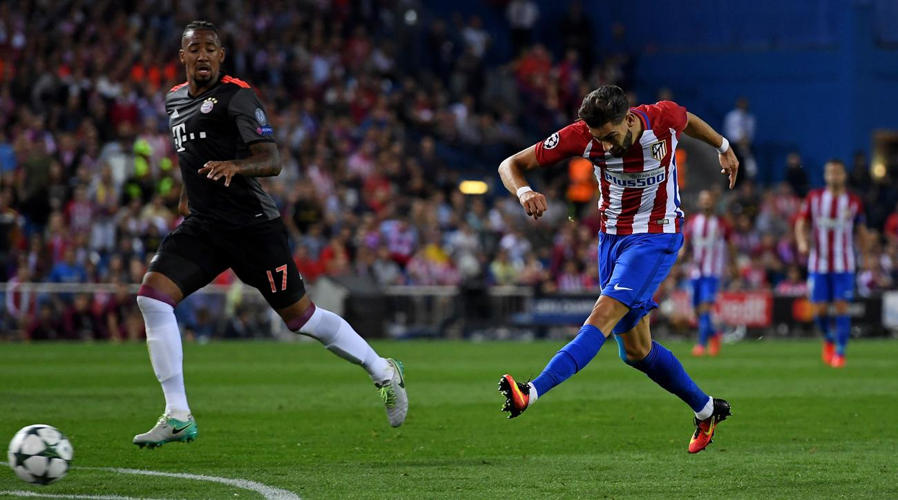 Yannick Carrasco scores for Atletico Madrid vs. Bayern Munich in the Champions League