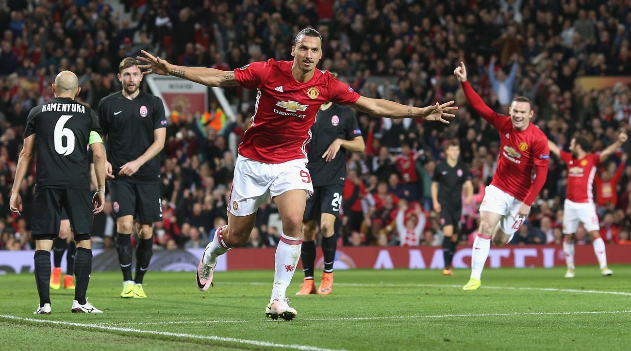 Zlatan Ibrahimovic scores Manchester United's winner vs. Zorya in the Europa League