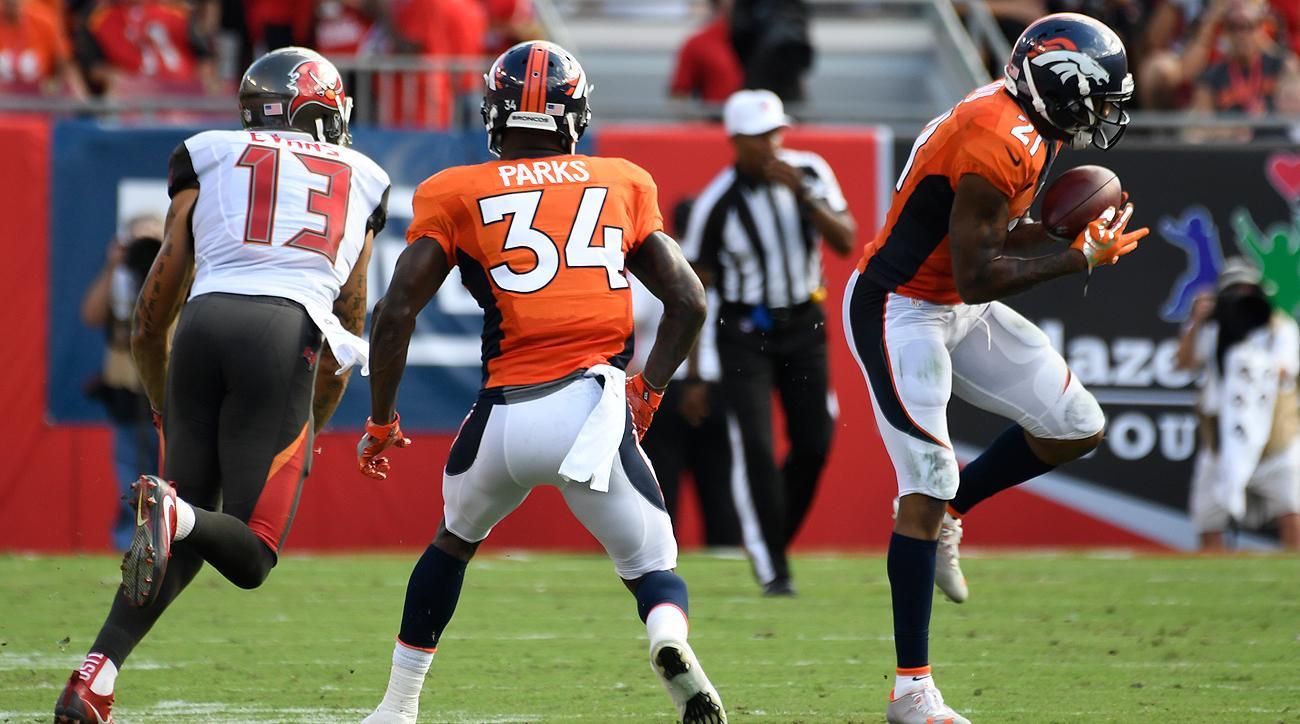 Broncos corner Aqib Talib (21) had a memorable game in his return to Tampa Bay.