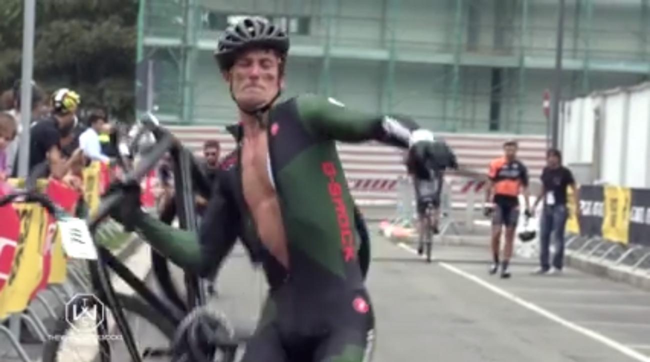 cyclist throw bike jeremy santucci red hook milan video