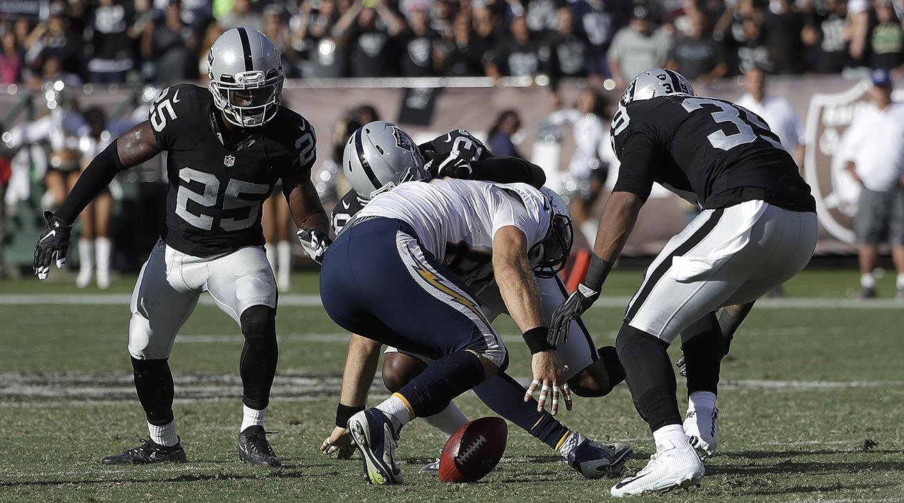 chargers fumble lose raiders