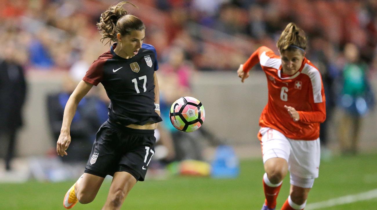 Tobin Heath scores one of the USA's goals against Switzerland in their friendly