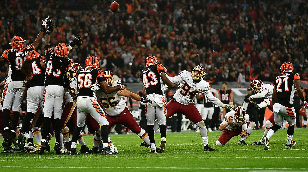 Redskins, Bengals tie after Dustin Hopkins misses field goal