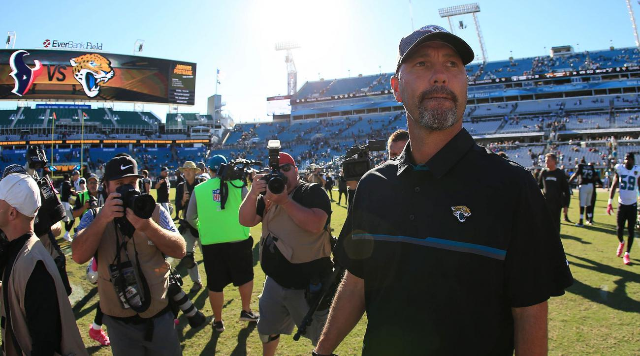 Firing offensive coordinator Greg Olson is putting a Band-Aid on a bullet wound—no seat is hotter than Bradley's. Everyone likes him, and that's probably how he bought himself another year or two despite an uninspiring win-loss record. Jaguars owner Shad Khan has demonstrated more patience than most, but the picture is now clear after 14 wins over three and a half seasons. The Jags have had top-five picks in every draft since he has been there and still have not beaten a team that went on to make the playoffs. The Jaguars were just embarrassed on national television by the Titans, and with a tough stretch ahead, they could very well be 2–11 by the time they close the season with their three division foes.