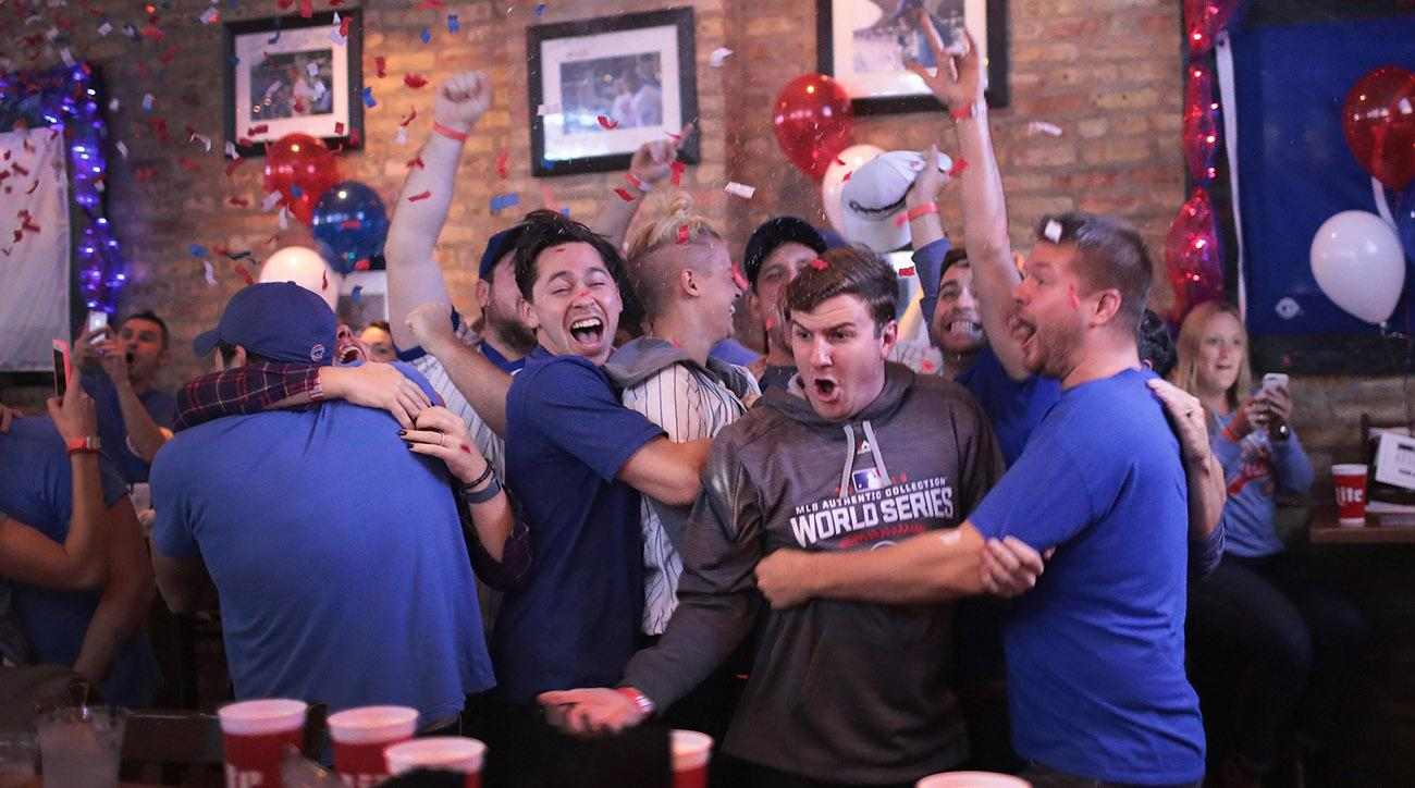 Chicago Cubs fans celebrated a World Series title in Wrigleyville.