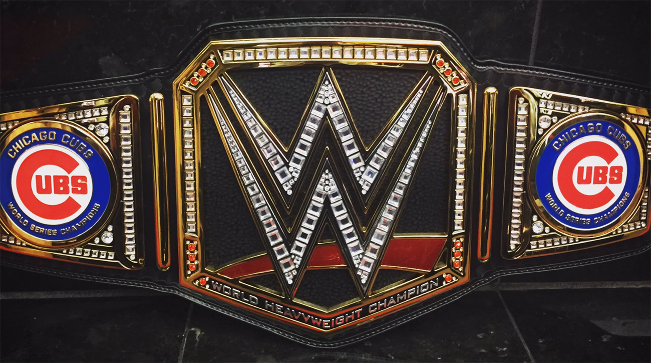 Kris Bryant Is Wearing A Custom WWE Title Belt At The Cubs Parade