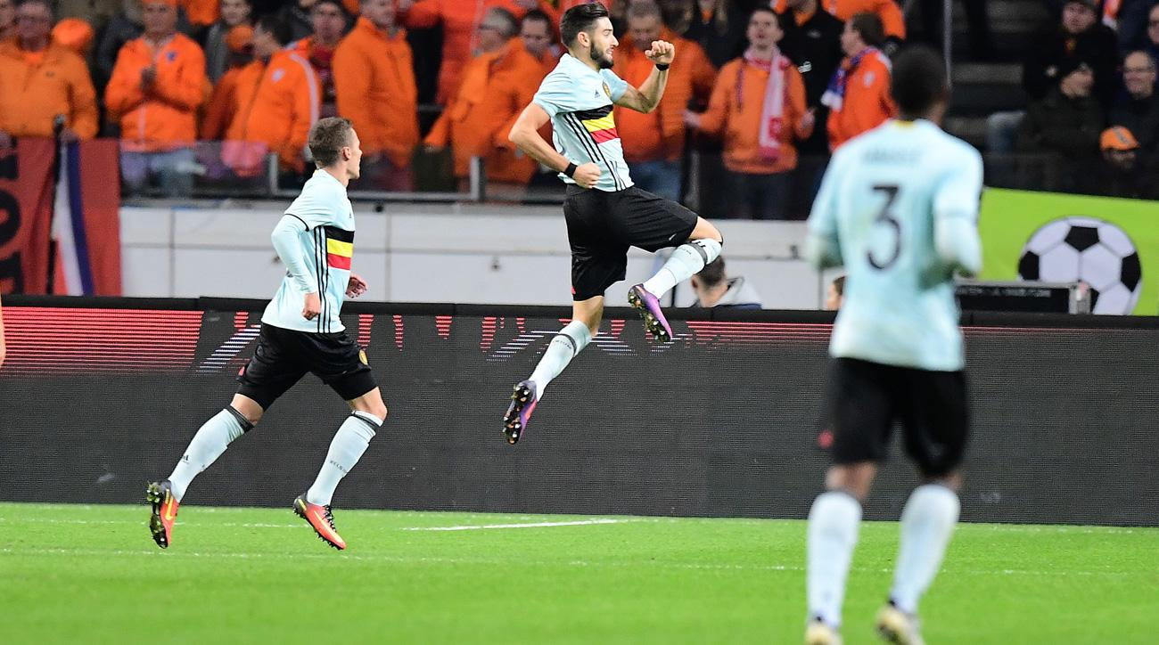 Yannick Carrasco scores for Belgium vs. Netherlands
