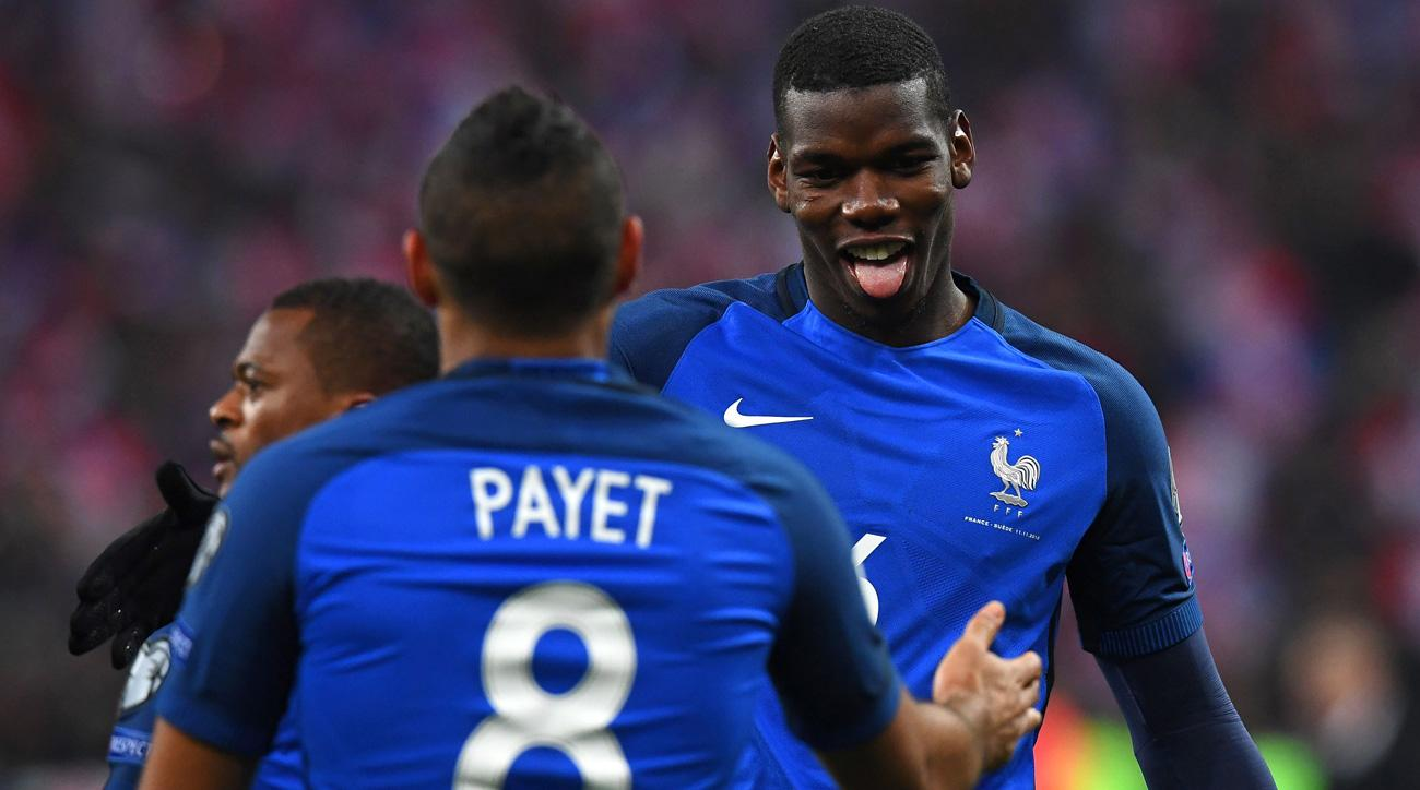 Paul Pogba and Dimitri Payet score in France's 2-1 win over Sweden