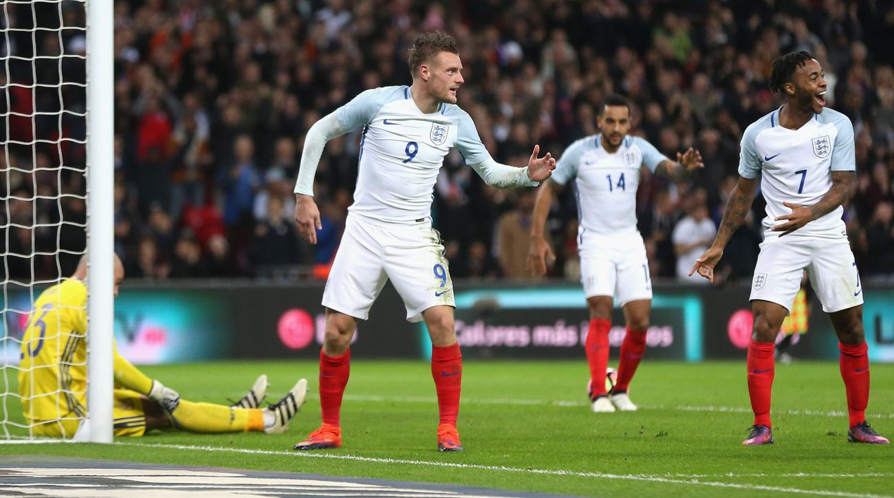 Jamie Vardy scores for England vs Spain, celebrates with mannequin challenge