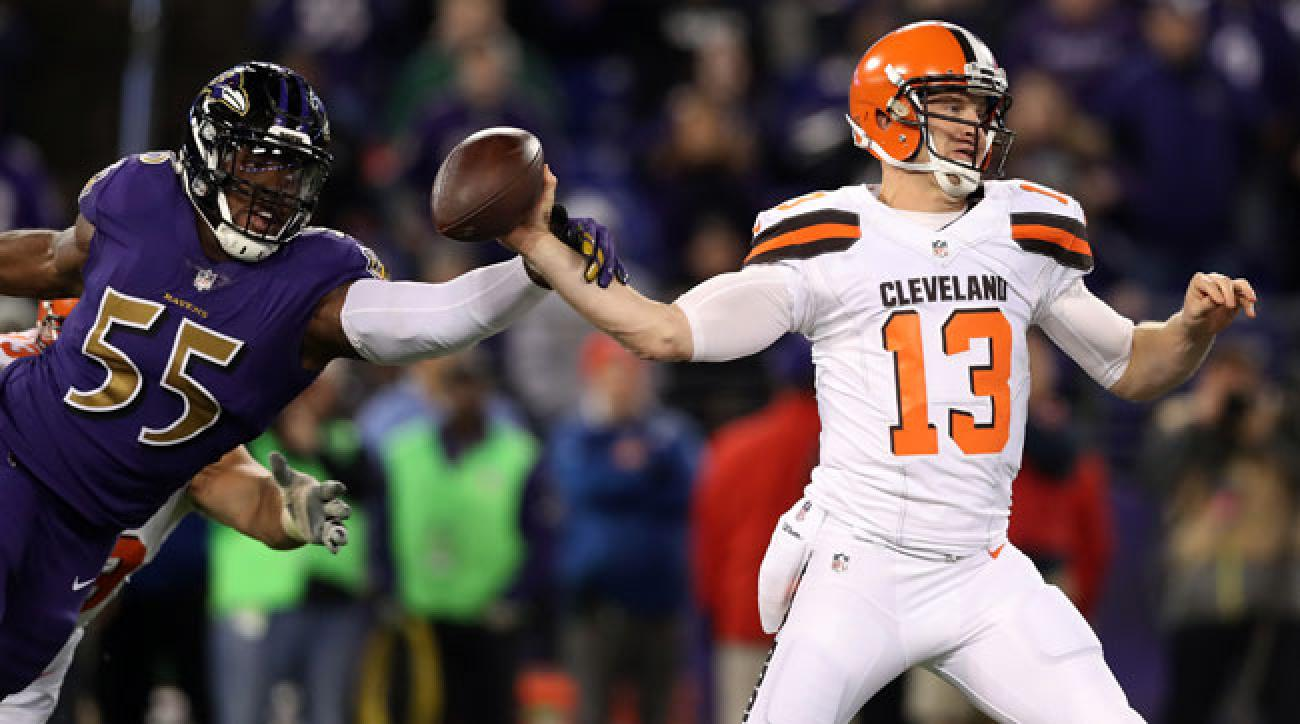 Quarterback Josh McCown is pressured by Ravens LB Terrell Suggs as the Cleveland Browns fall to 0-10.