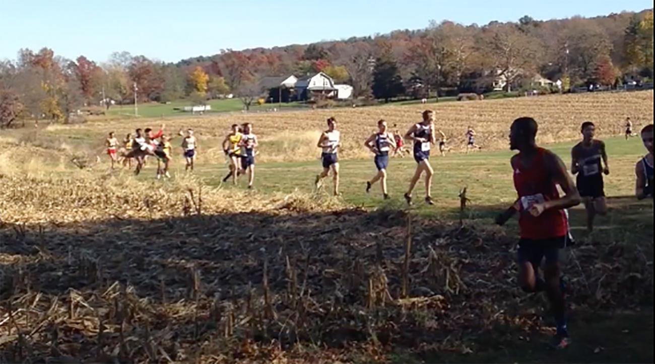 cross country runner hit by deer video