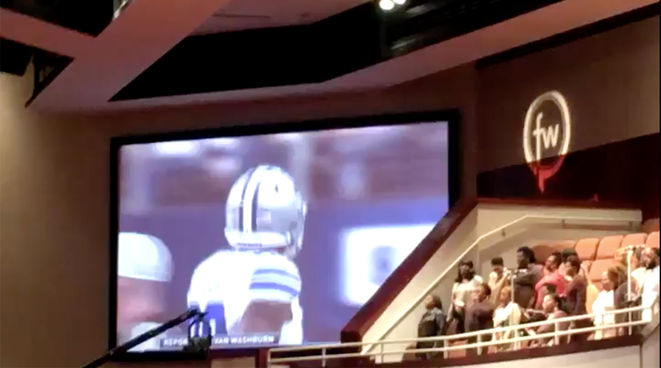 dallas church shows cowboys game during mass