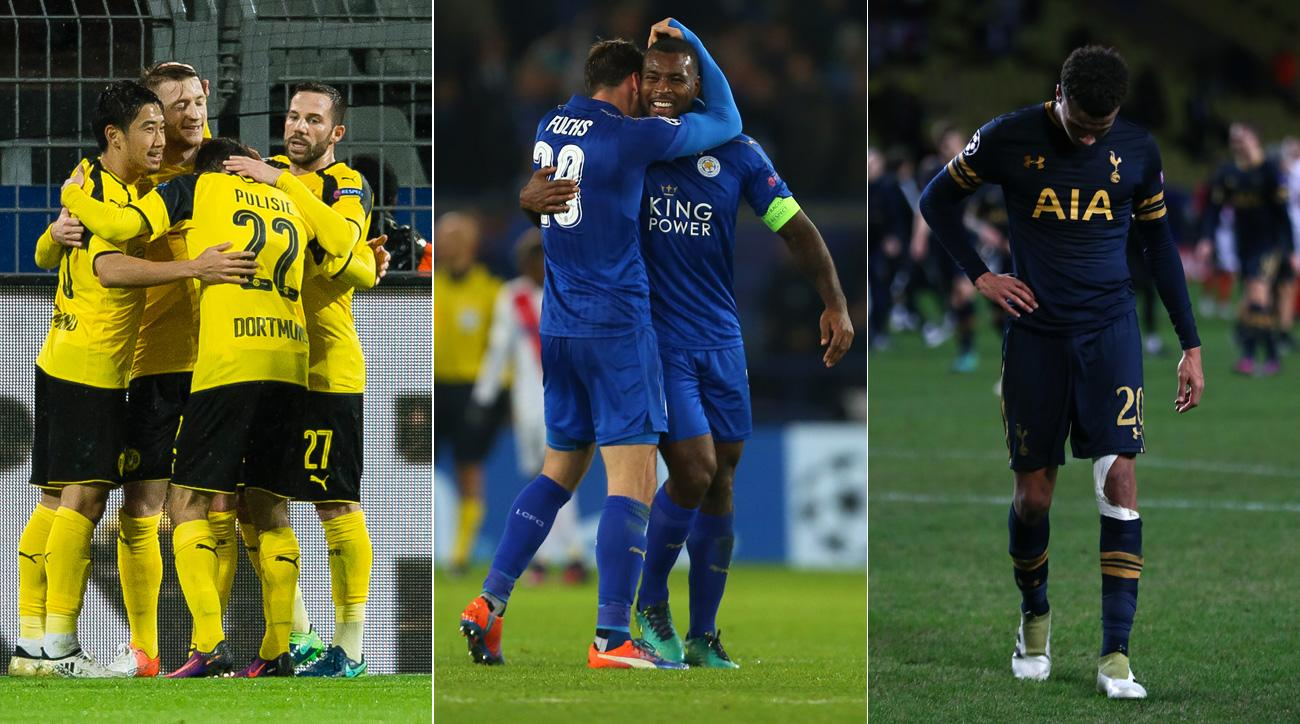 Dortmund and Leicester are through to the Champions League knockout stage, while Tottenham is eliminated