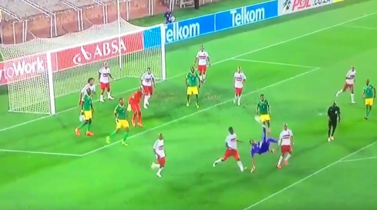South Africa goalkeeper scores on a bicycle kick