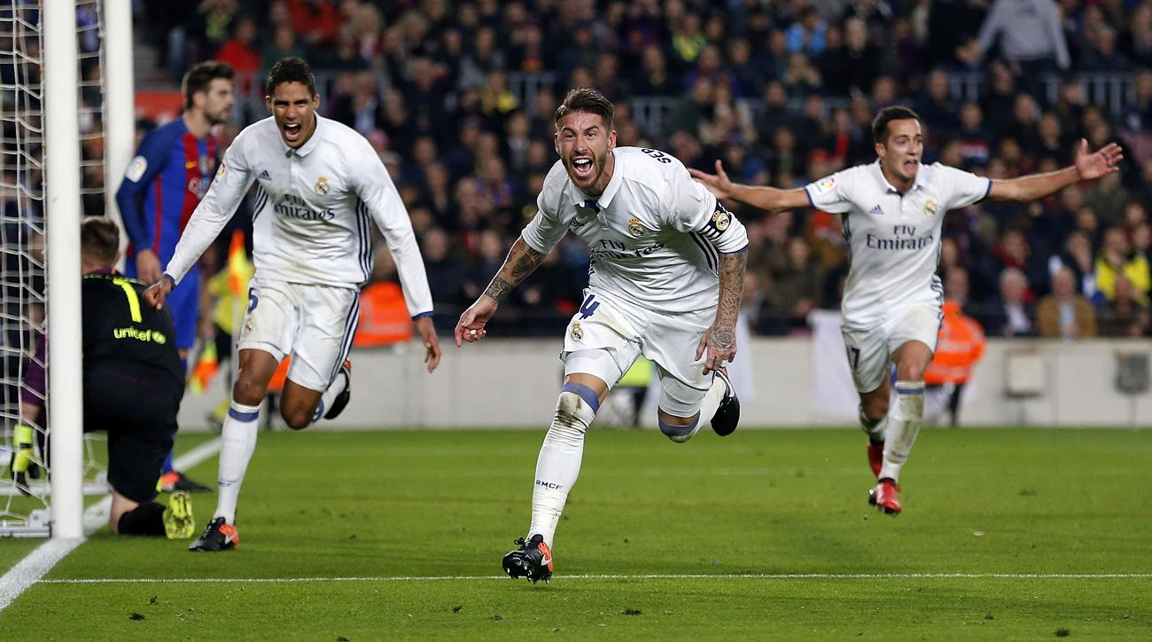 Sergio Ramos scores the late equalizer for Real Madrid vs. Barcelona