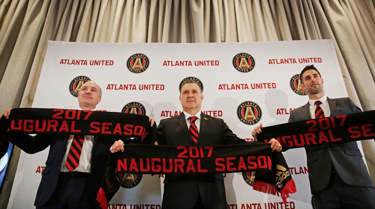 Atlanta United's Darren Eales, Gerardo Martino and Carlos Bocanegra