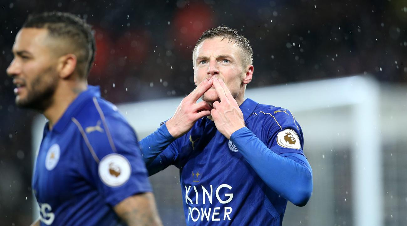 Jamie Vardy scored a hat trick for Leicester vs. Manchester City