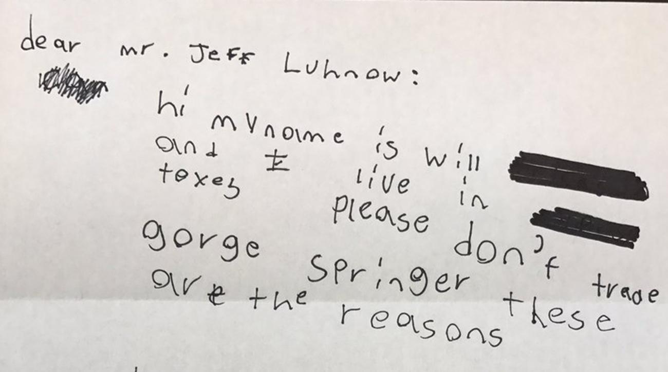 Kid writes letter to Astros GM Jeff Luhnow about George Springer