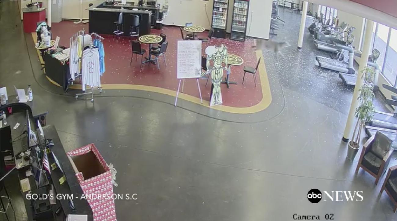 Video: Deer crashes through gym window in South Carolina