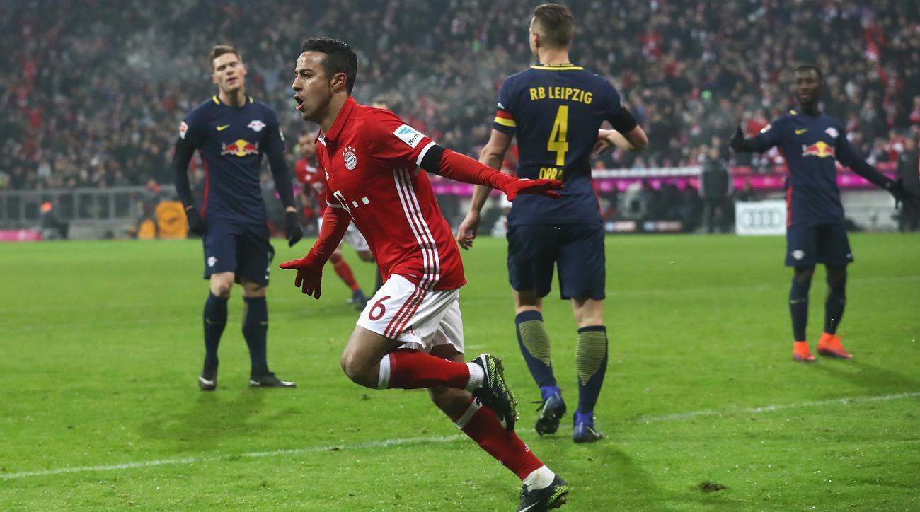 Thiago scores for Bayern Munich vs. RB Leipzig