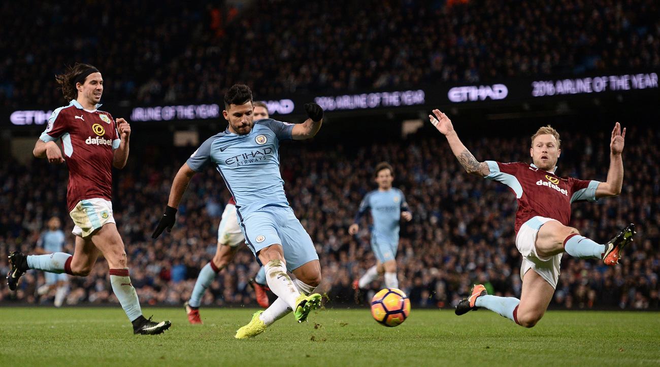 Sergio Aguero scores for Manchester City vs. Burnley