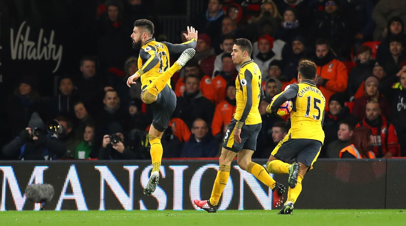 Olivier Giroud scores an equalizer for Arsenal vs. Bournemouth