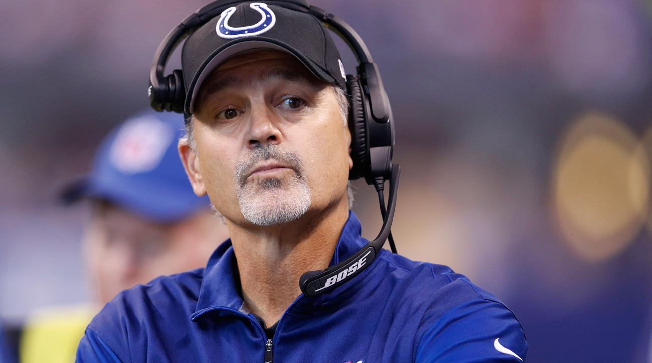 Colts coach Chuck Pagano could lose his job after his team under-performed in a weak division this season.