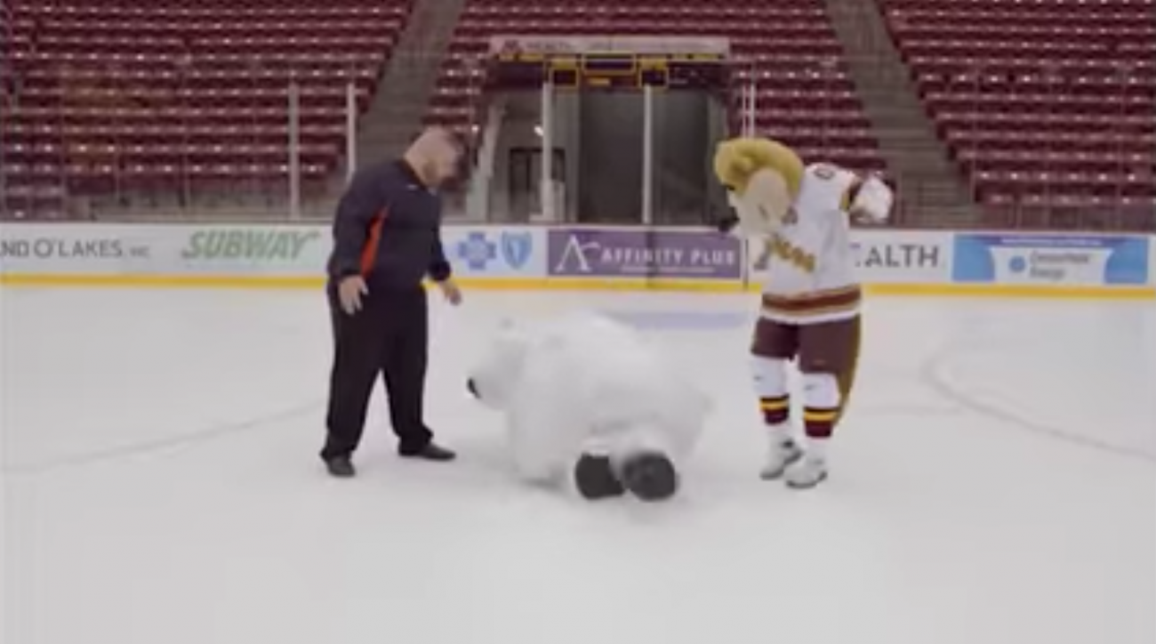 Video: Bear mascot slips on ice in commercial outtakes