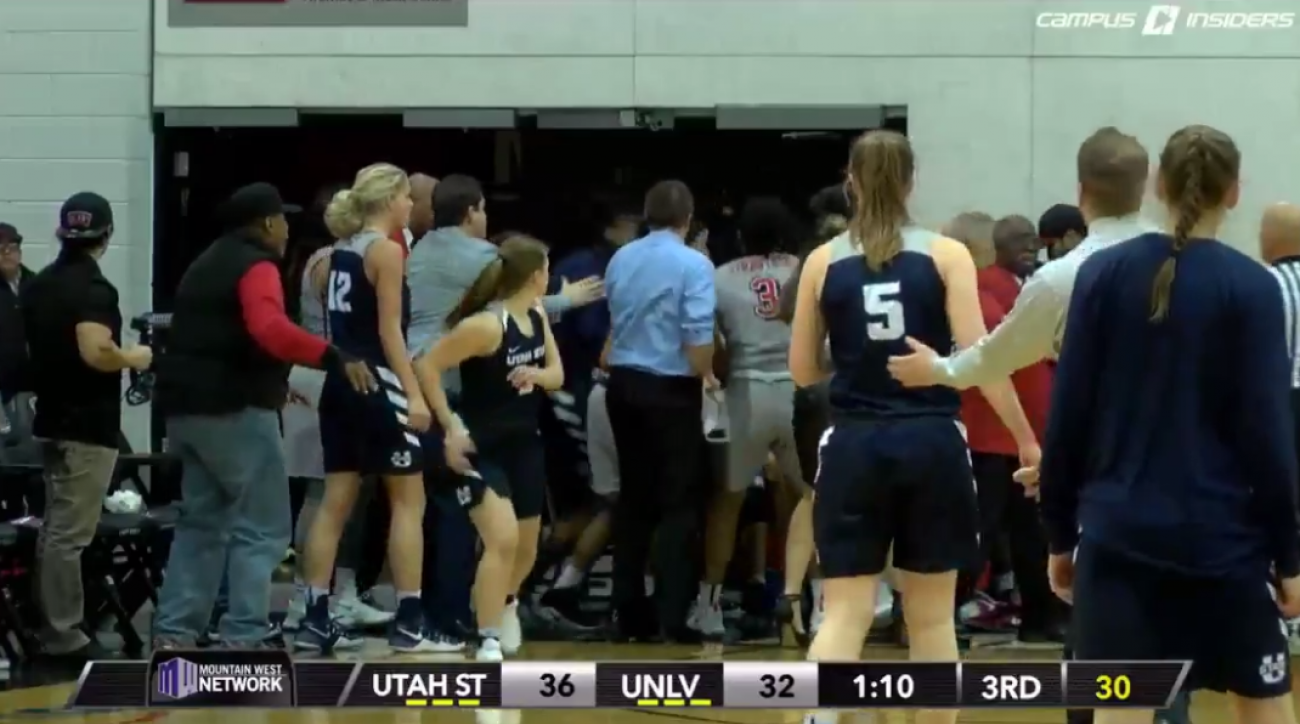 UNLV-Utah State women's basketball brawl (video)