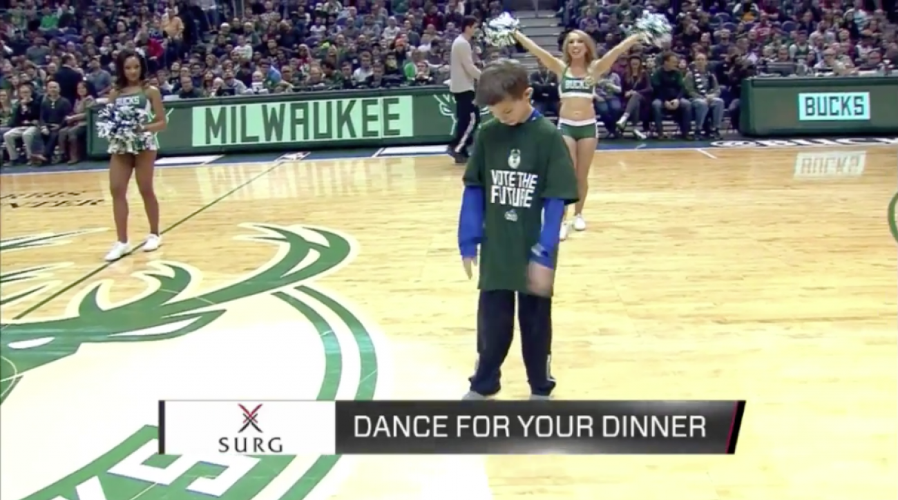 Milwaukee Bucks fan dabs sadly in dance contest (VIDEO)