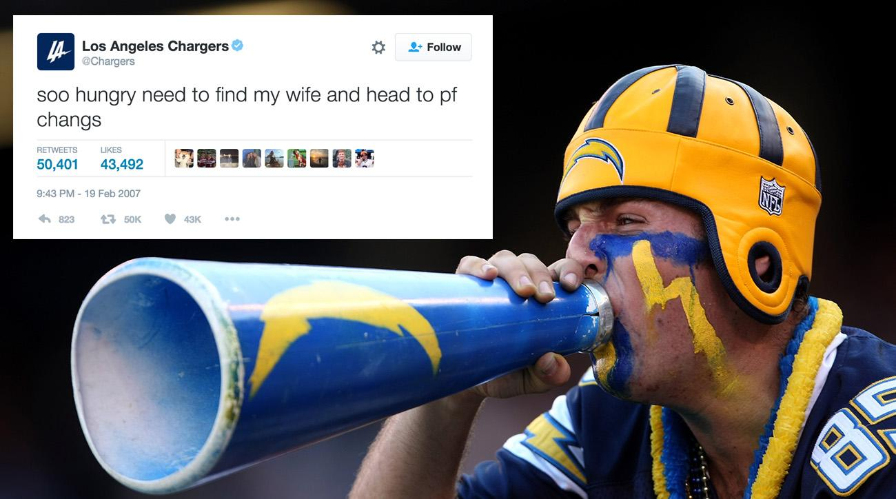 San Diego Chargers tweets about PF Changs, moving