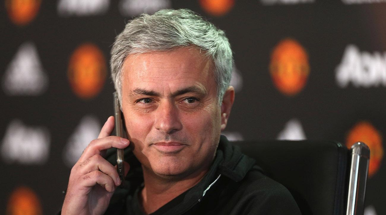 Jose Mourinho answered the phone during a Manchester United press conference.