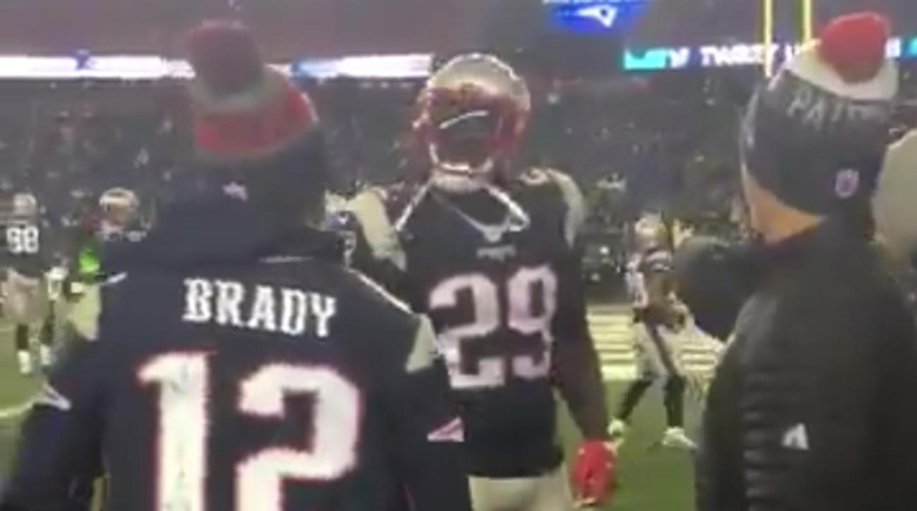 Isaiah Thomas fires up LeGarrette Blount at Patriots game (Video)