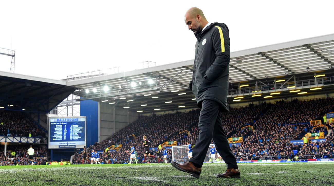 Manchester City fell to Everton 4-0 in the Premier League