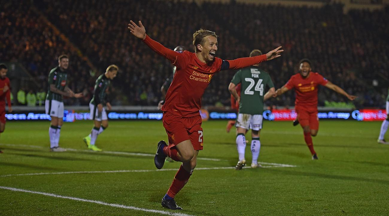 Lucas celebrates his goal for Liverpool in the FA Cup