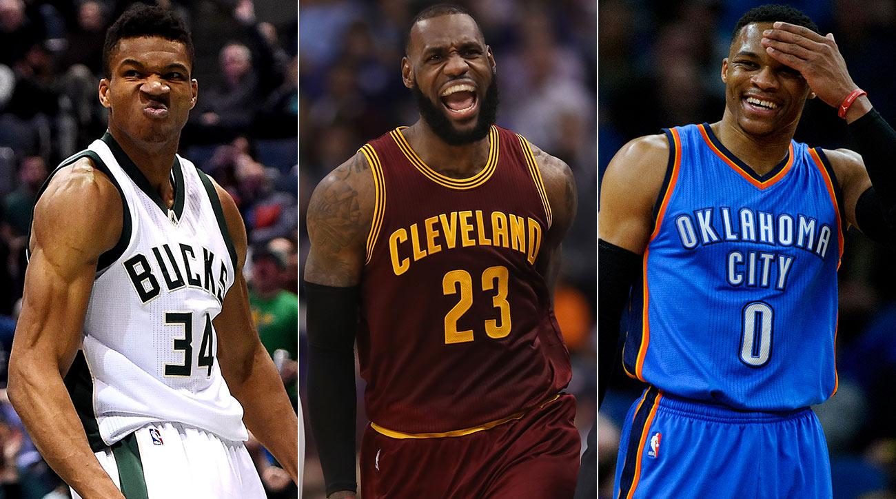 Giannis Antetokounmpo, Lebron James and Russell Westbrook