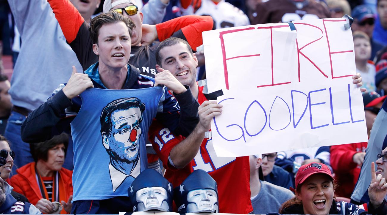 Patriots fans hold up anti-Roger Goodell signs.