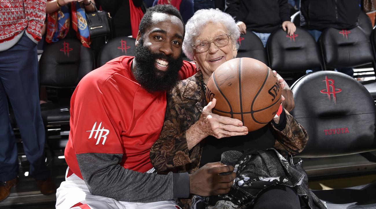 James Harden gives ball to fan for 100th birthday (video)