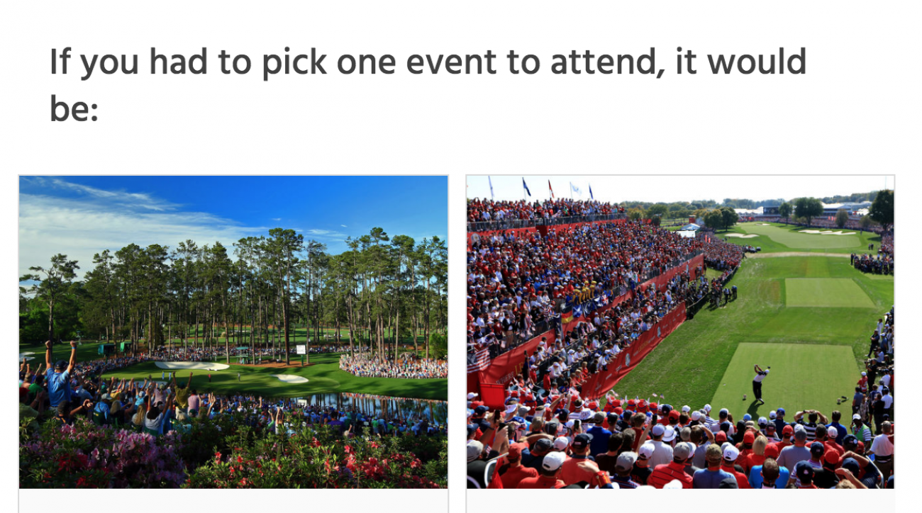 Masters or Ryder Cup? Our readers overwhelming would rather head to Augusta than a Ryder Cup.
