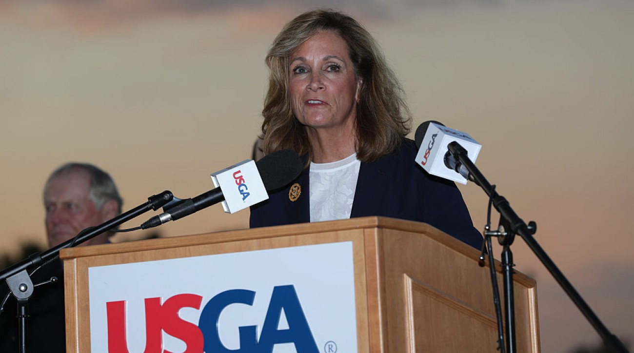Diana Murphy, president of the USGA, speaks at the prize-giving ceremony at the 2016 U.S. Open at Oakmont.